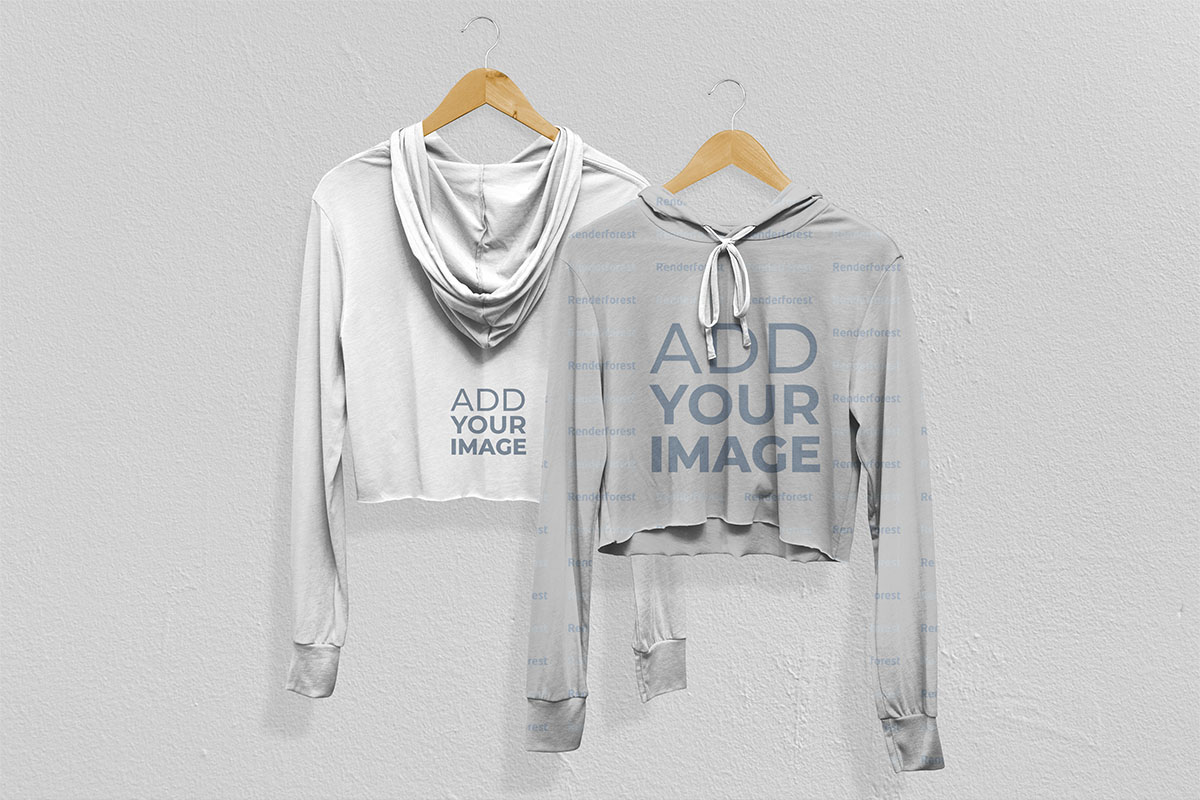 Two Hoodies on Hangers Back and Front View