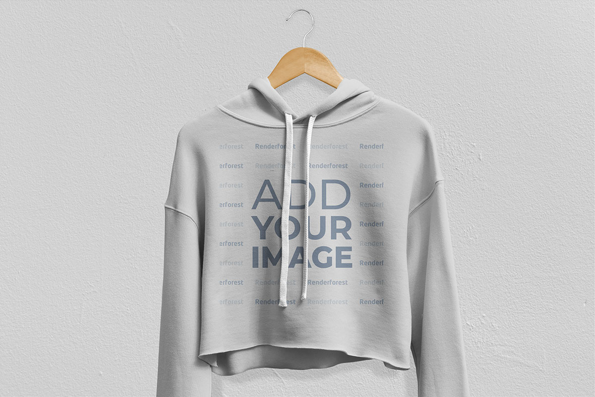 Zoom-in View of a White Hoodie on a Hanger