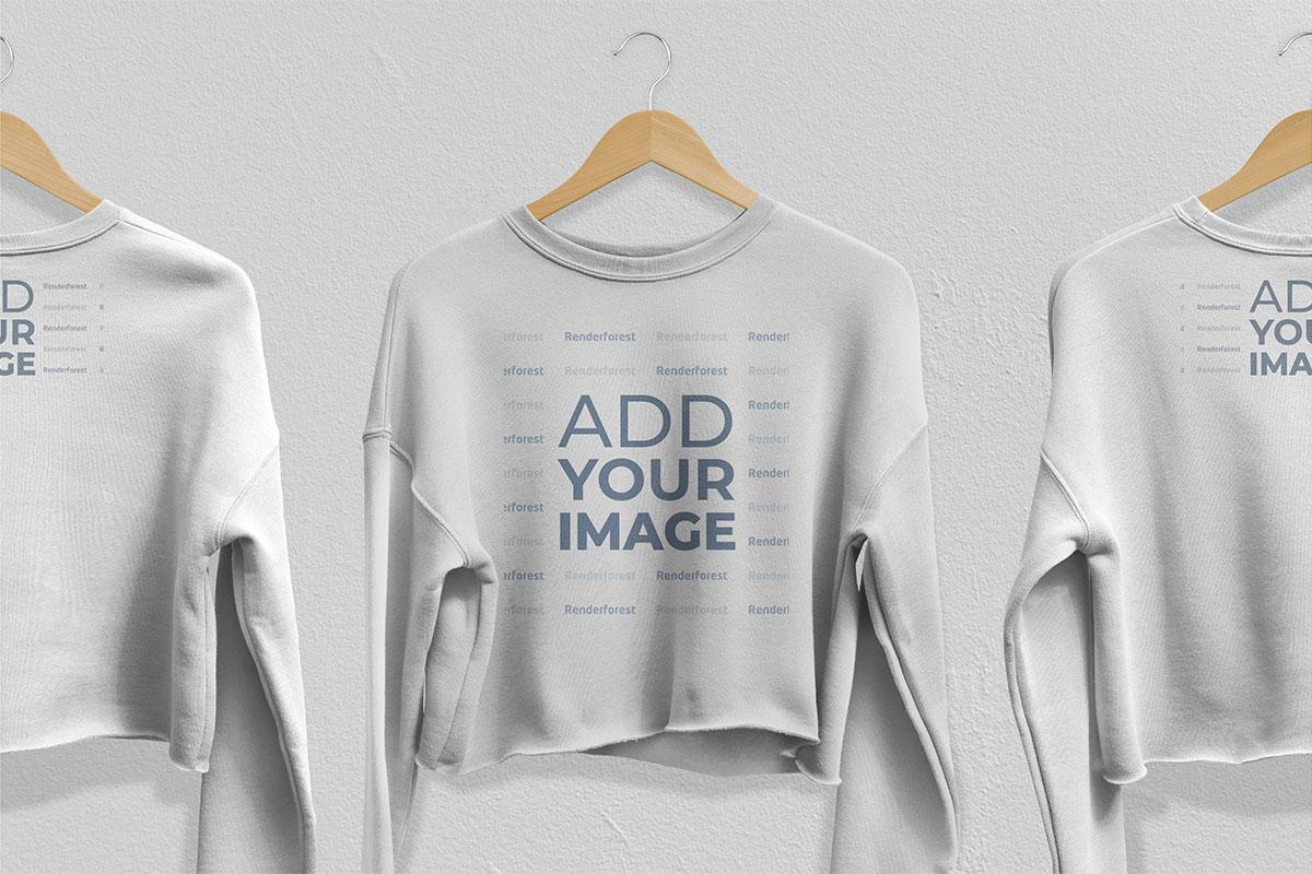 Zoom-in View of Three Sweatshirts on Hangers