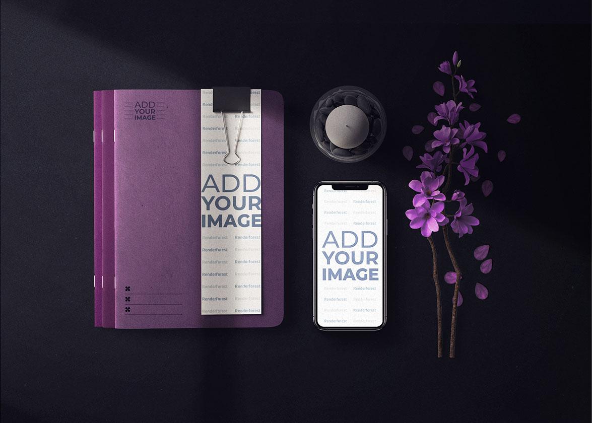 Cahiers à couverture souple avec un iPhone et des lilas