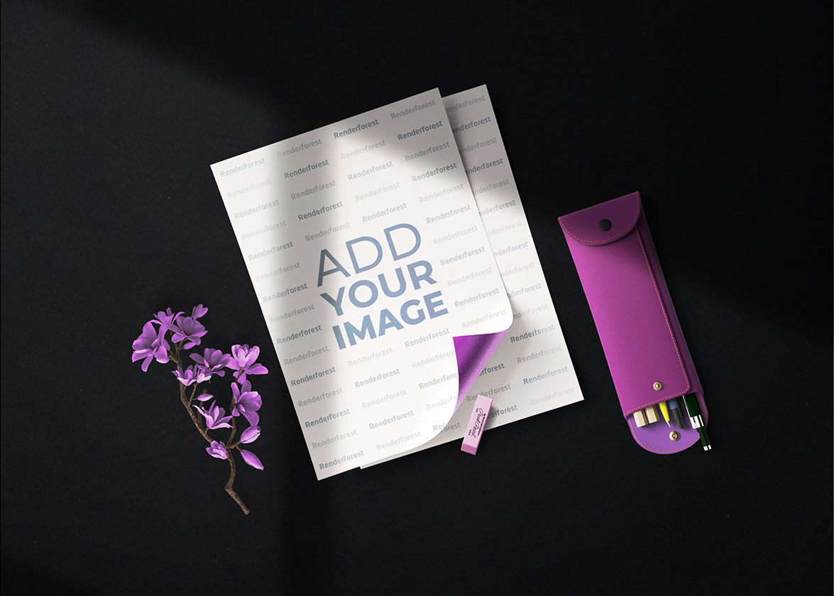 Flyers d'affaires, étui à stylos et lilas
