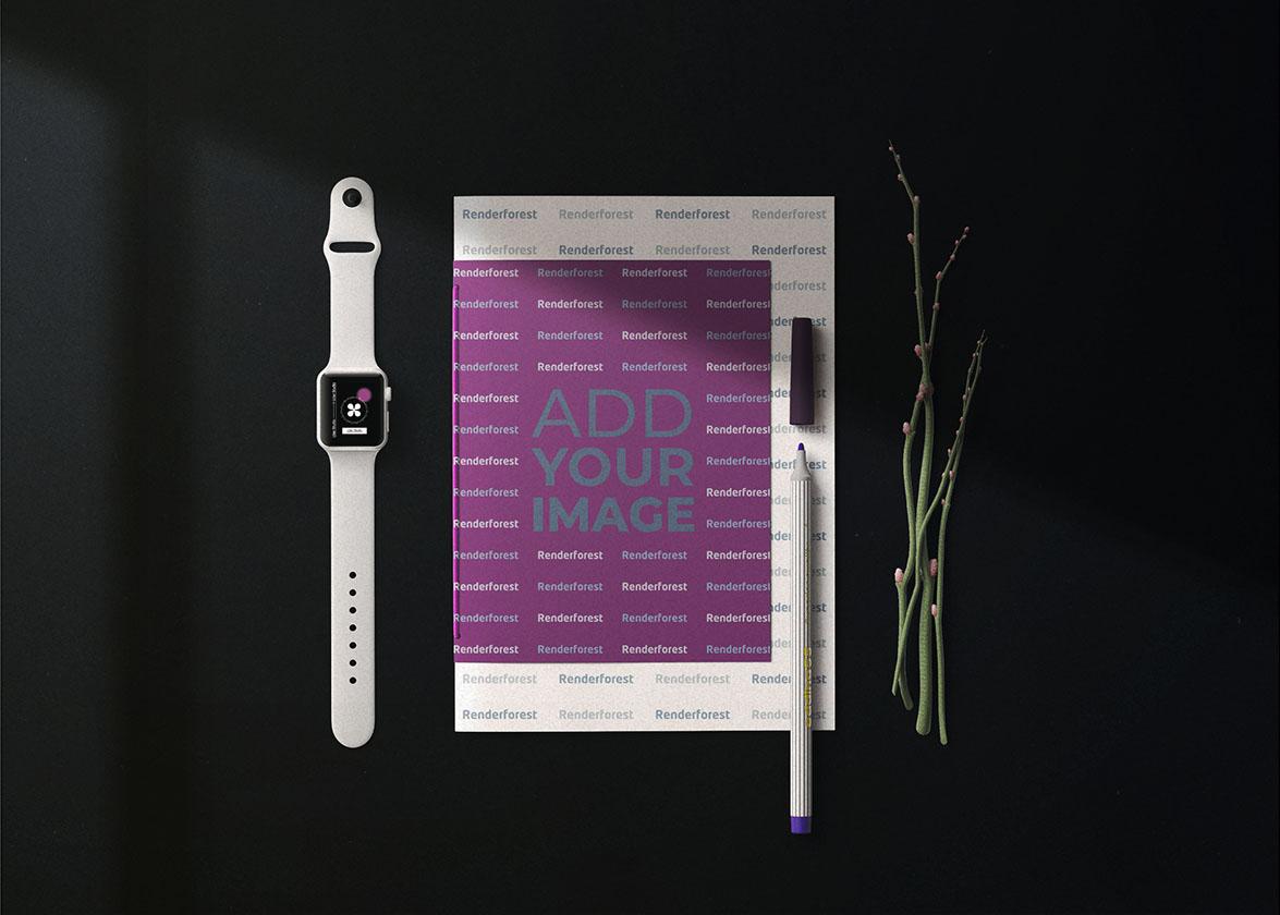 Dossier papier, Smartwatch et un stylo