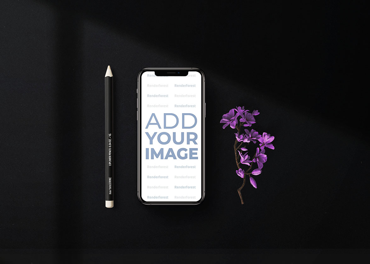 iPhone avec un crayon et des lilas