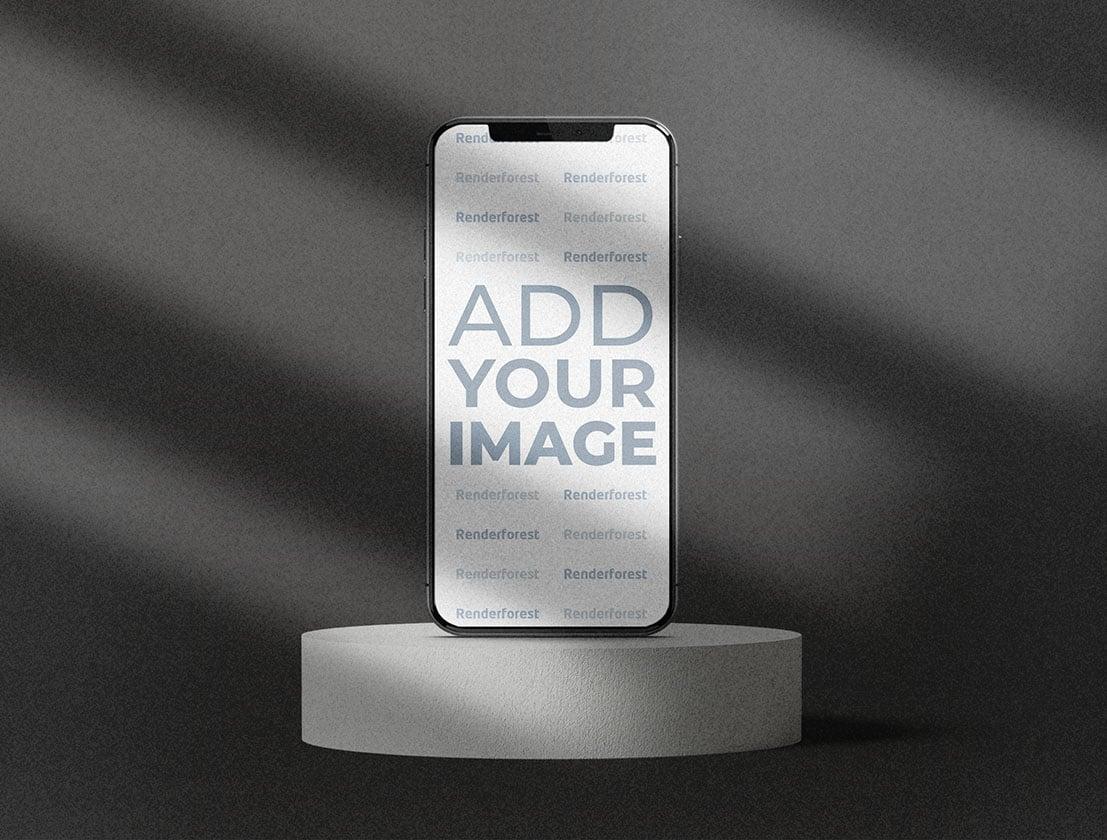 iPhone auf einem Rock Podium