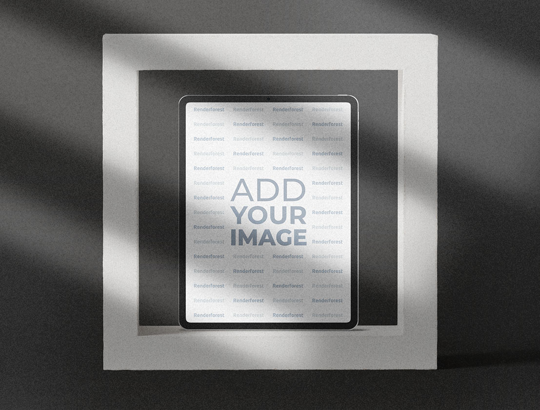 iPad on a Gray Textured Background
