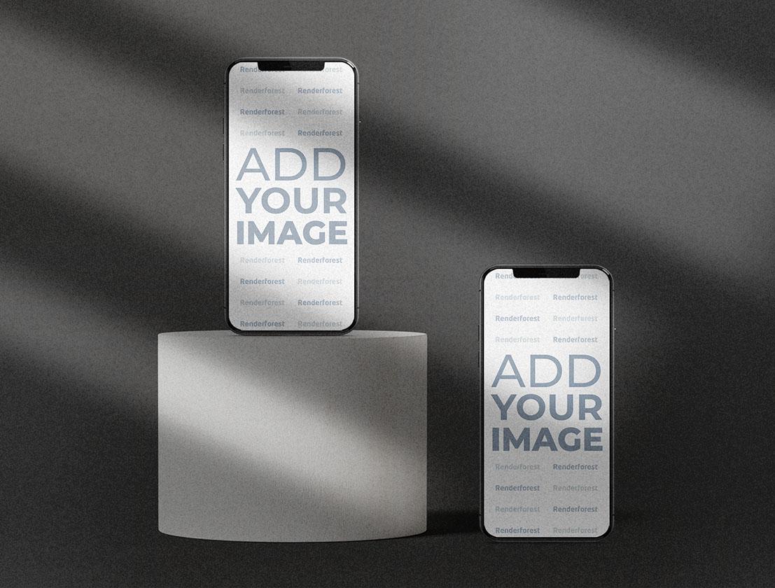 Zwei iPhones auf einem grauen strukturierten Hintergrund