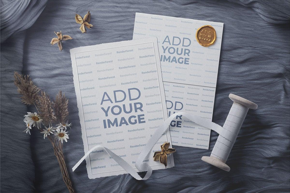 Любовное письмо и открытка с печатью