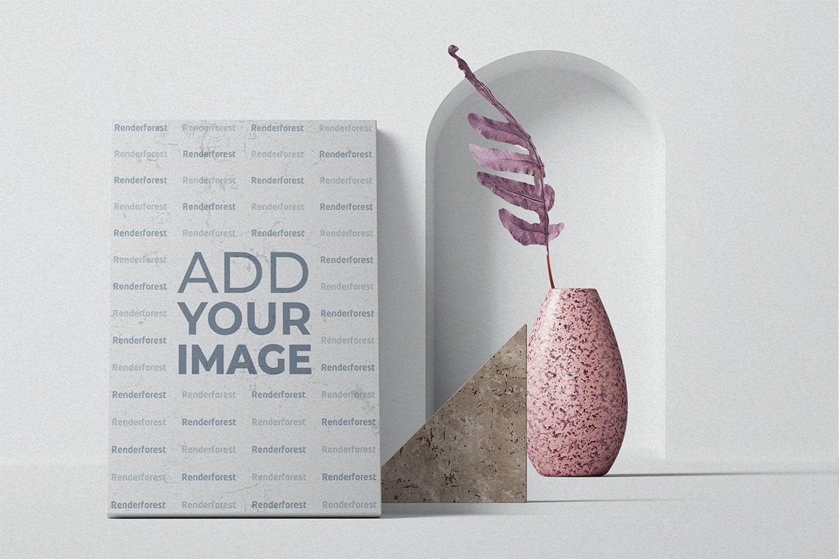 Cadre avec un vase à fleurs et un décor en pierre