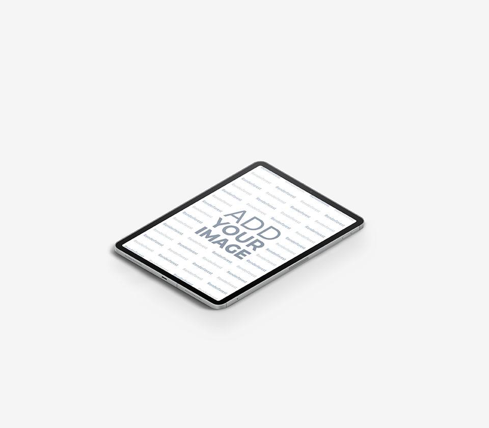 Vista Lateral Direita do iPad em um Fundo Cinza