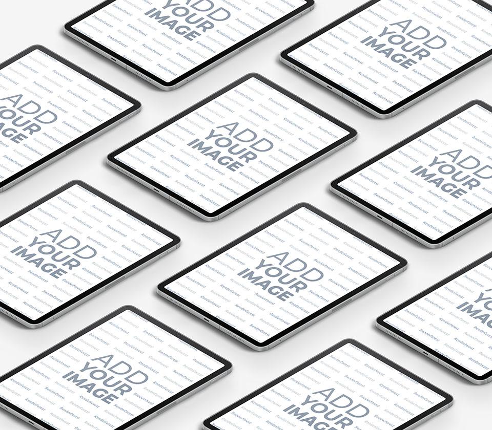 Vários iPads Isométricos