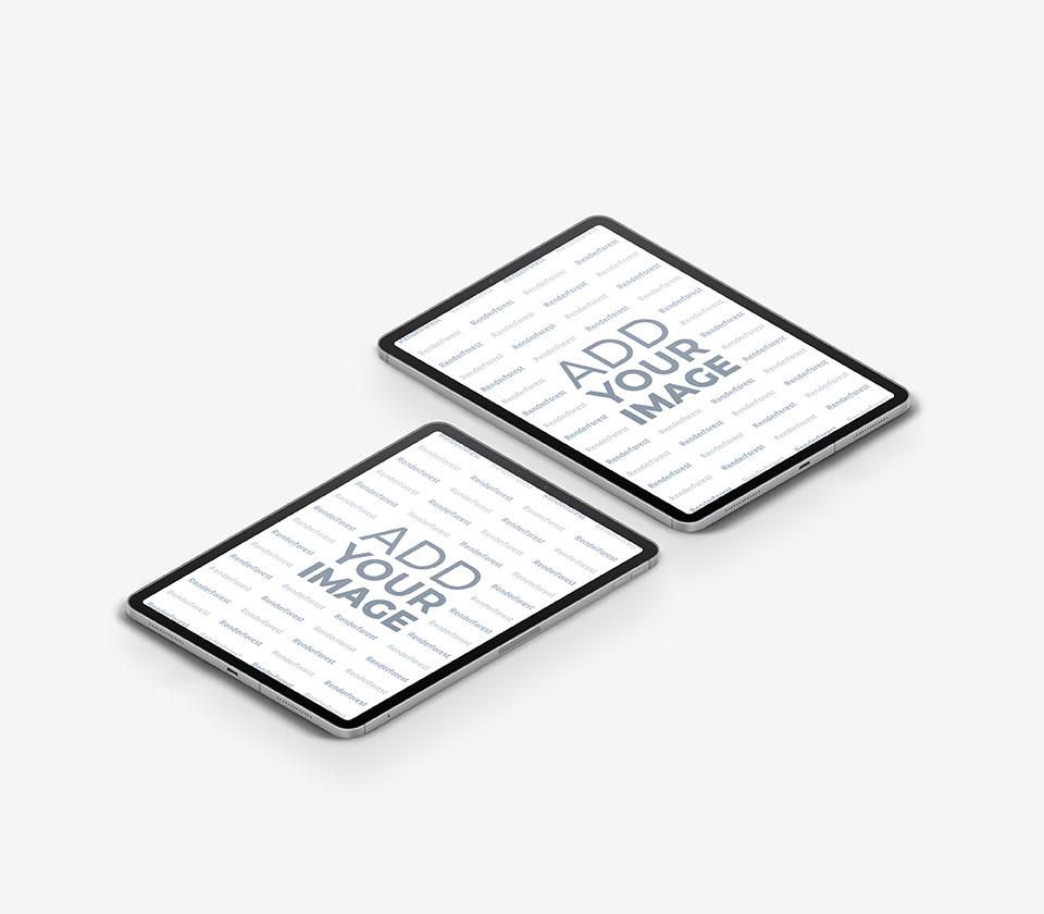 Dois iPads em um Fundo Cinza