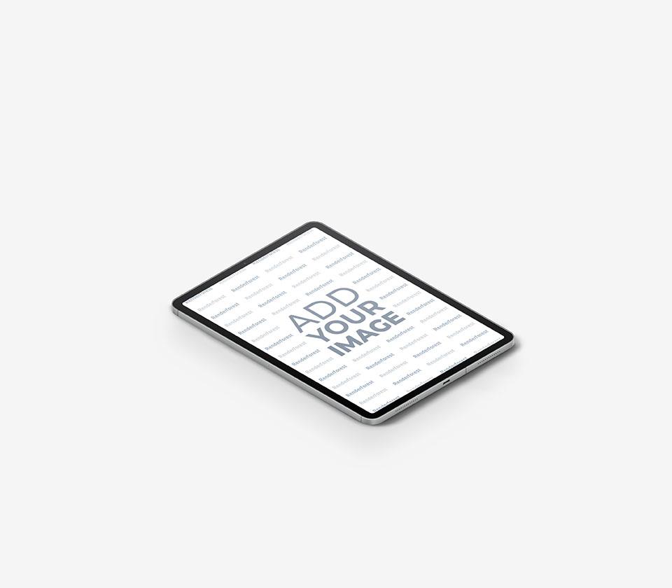 iPad em um Fundo Cinza