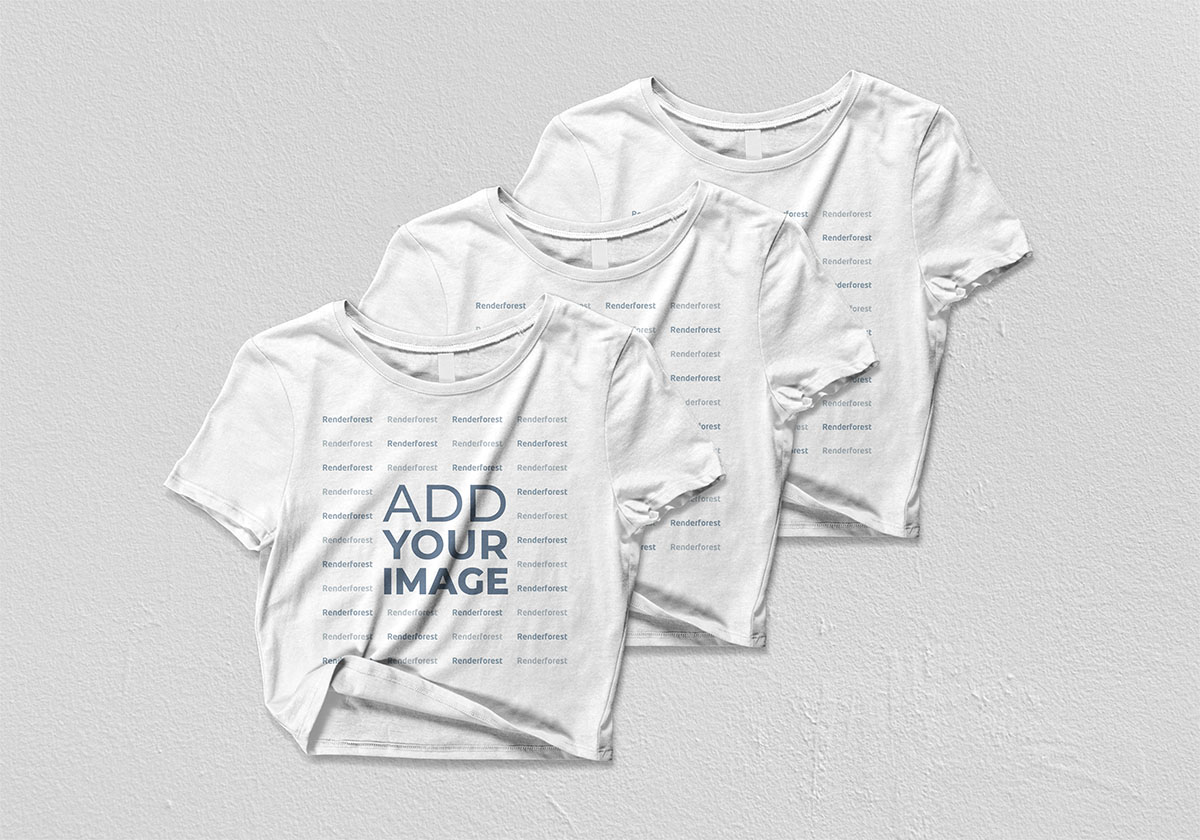 Three Crop Tops on a White Background