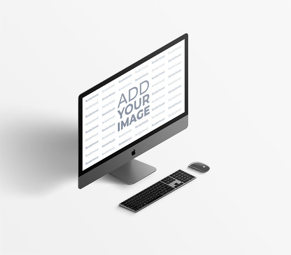 iMac con teclado y ratón - vista lateral izquierda
