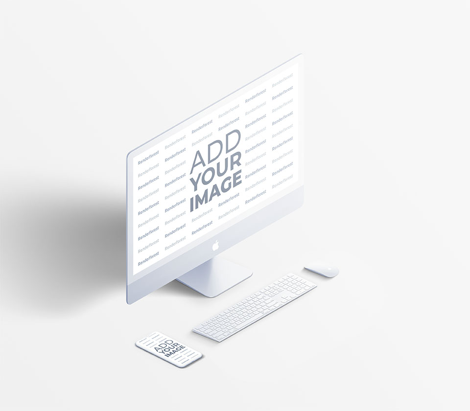 iMac Set with iPhone on a White Background