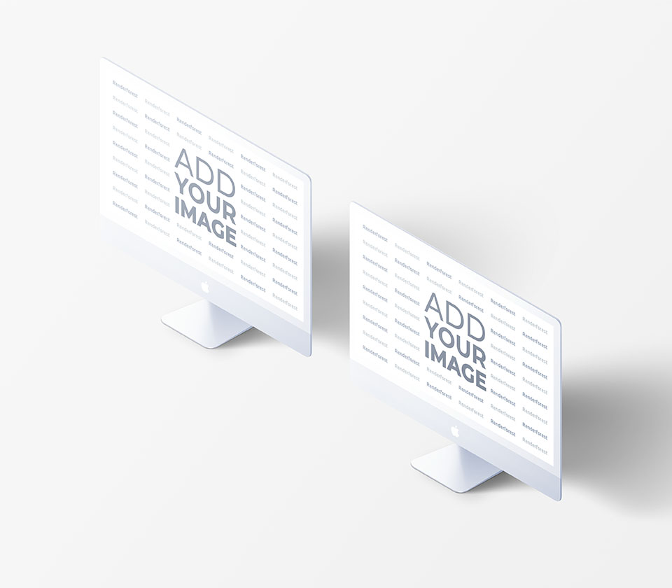 Two Isometric iMacs on a Black Background