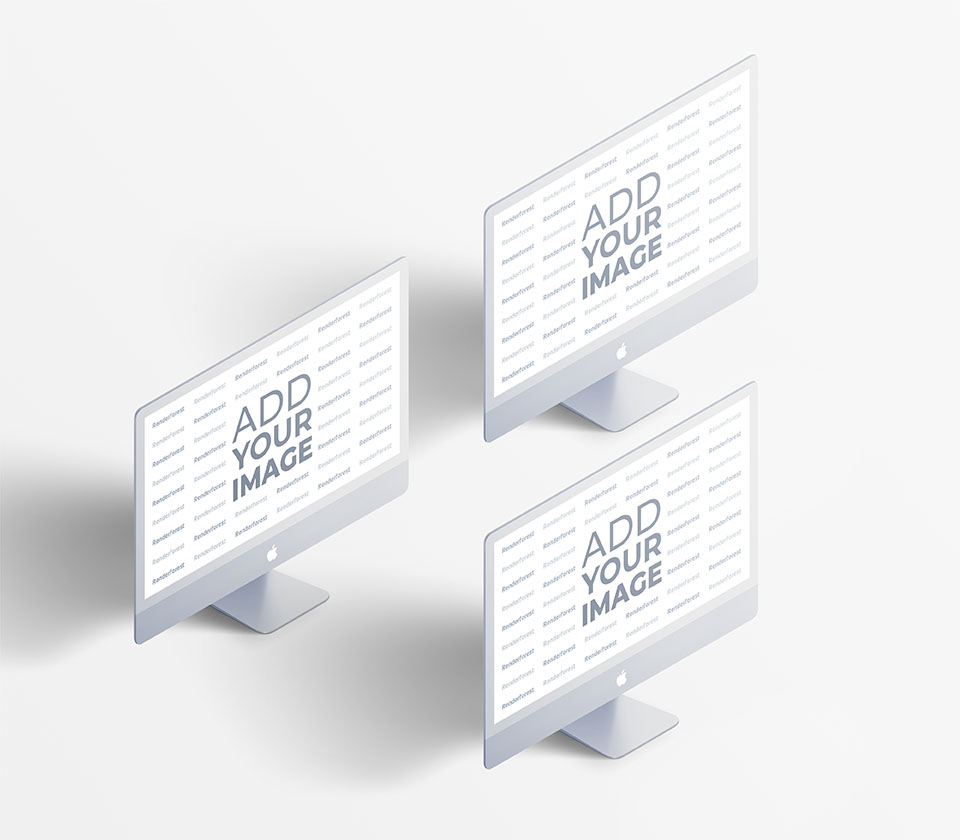 Three Isometric iMacs on a White Background