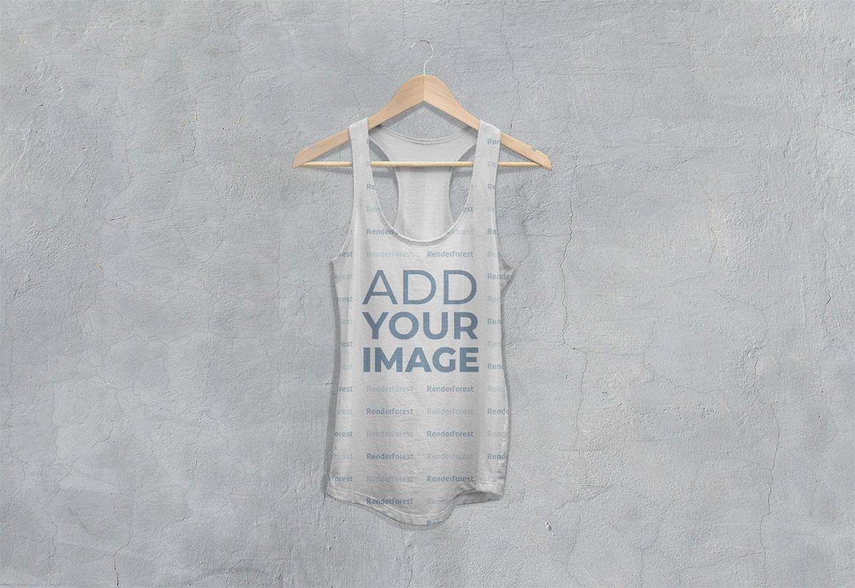 Vista frontal de camiseta racerback workout sin mangas