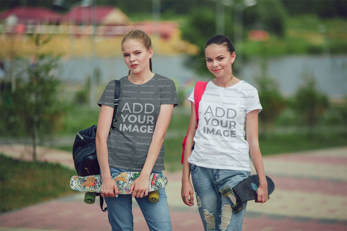 School Girls Holding Skateboards