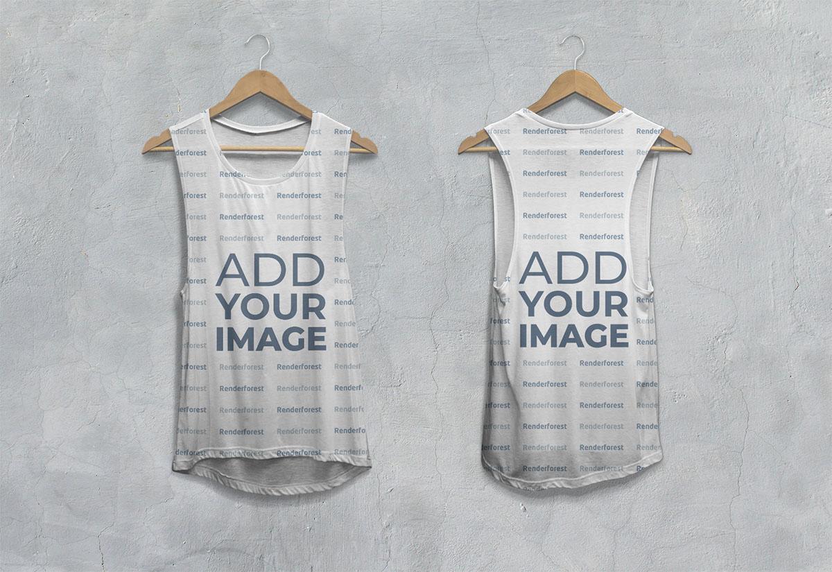 Vista frontal y posterior de camiseta caída sin mangas