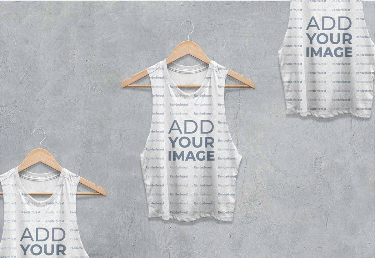Vista ampliada de tres camisetas workout sin mangas