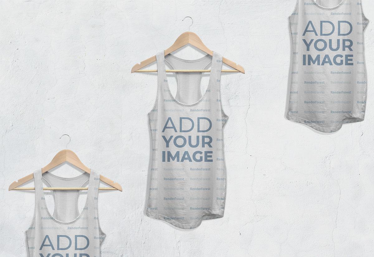 Vista ampliada de tres camisetas racerback sin mangas