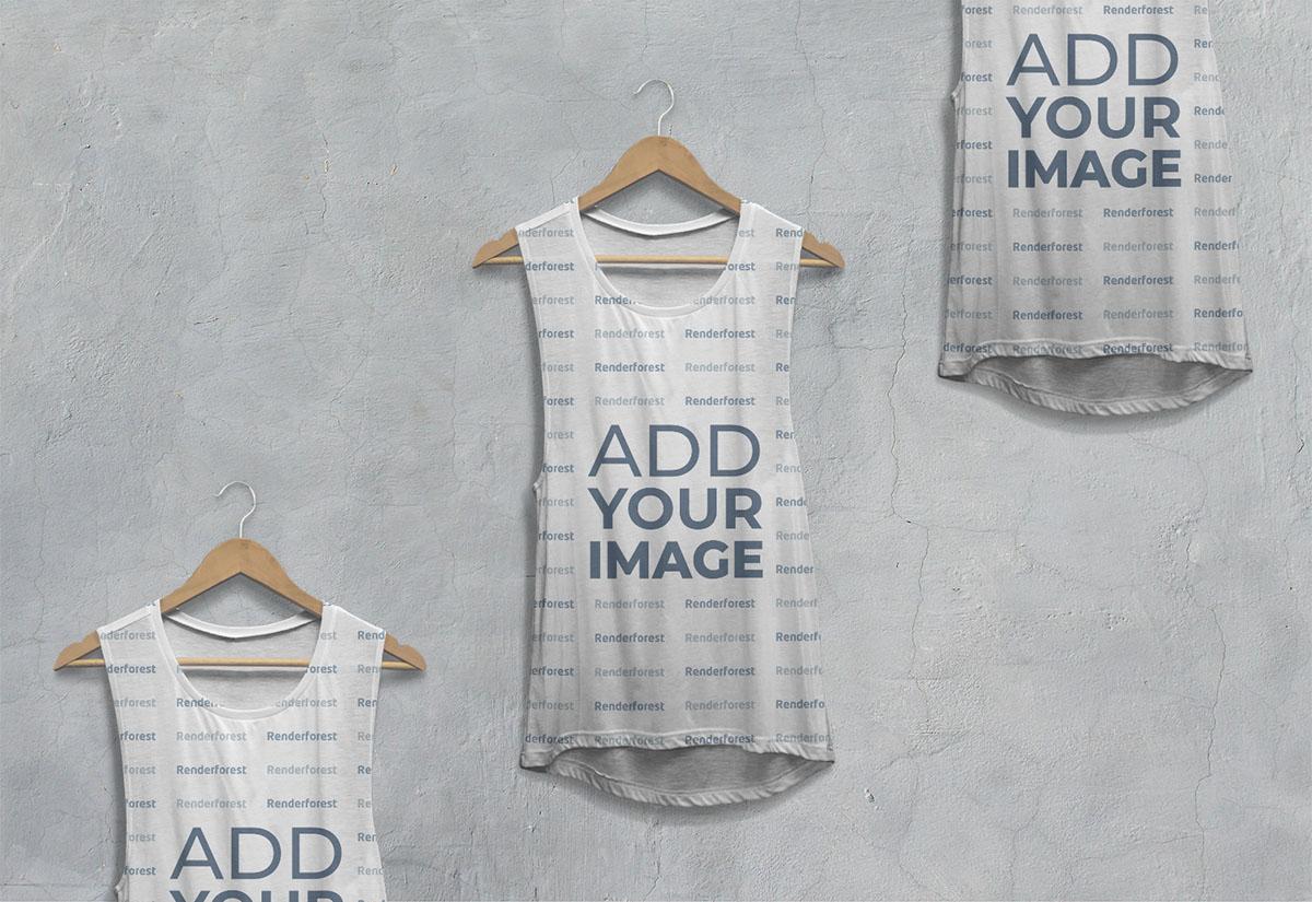 Vista ampliada de tres camisetas caídas sin mangas