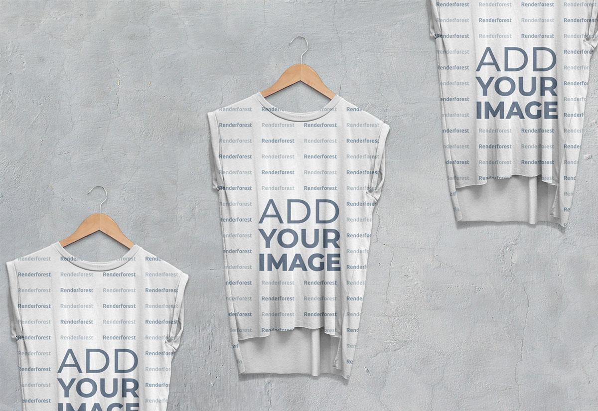 Vista ampliada de tres camisetas sin mangas para hombre