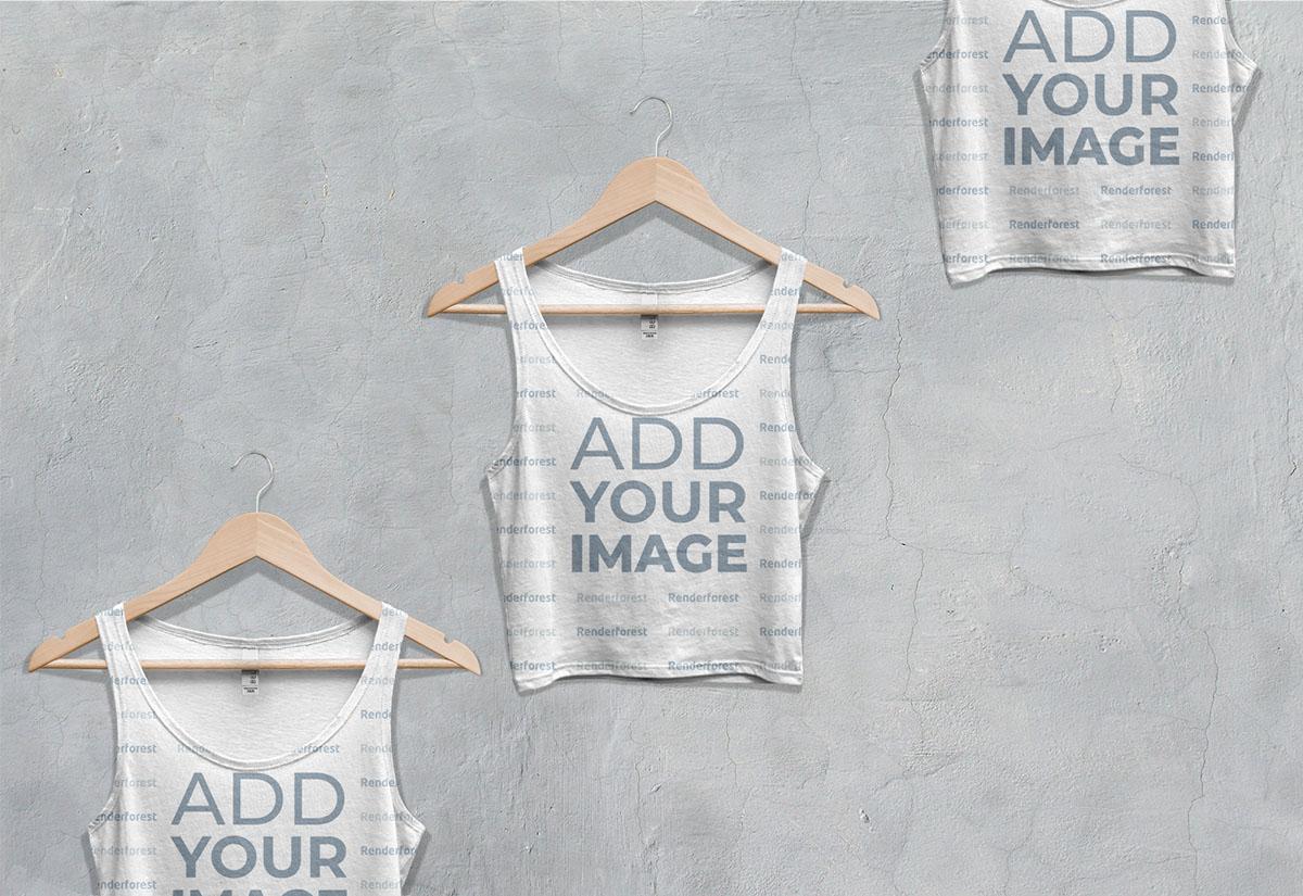 Vista ampliada de tres camisetas cortas sin mangas