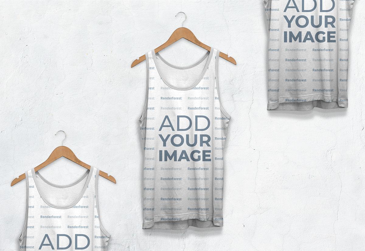 Vista ampliada de tres camisetas atéticas sin mangas