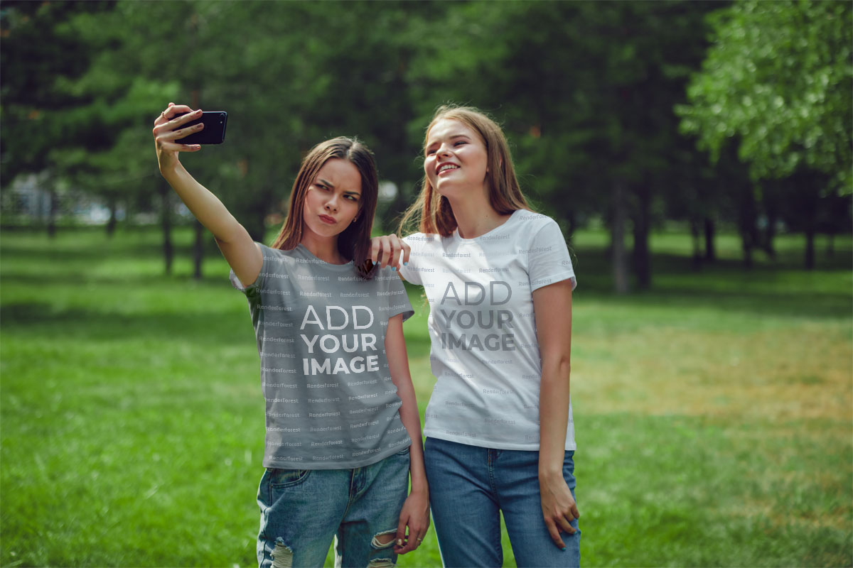 Pretty Girls Taking a Selfie