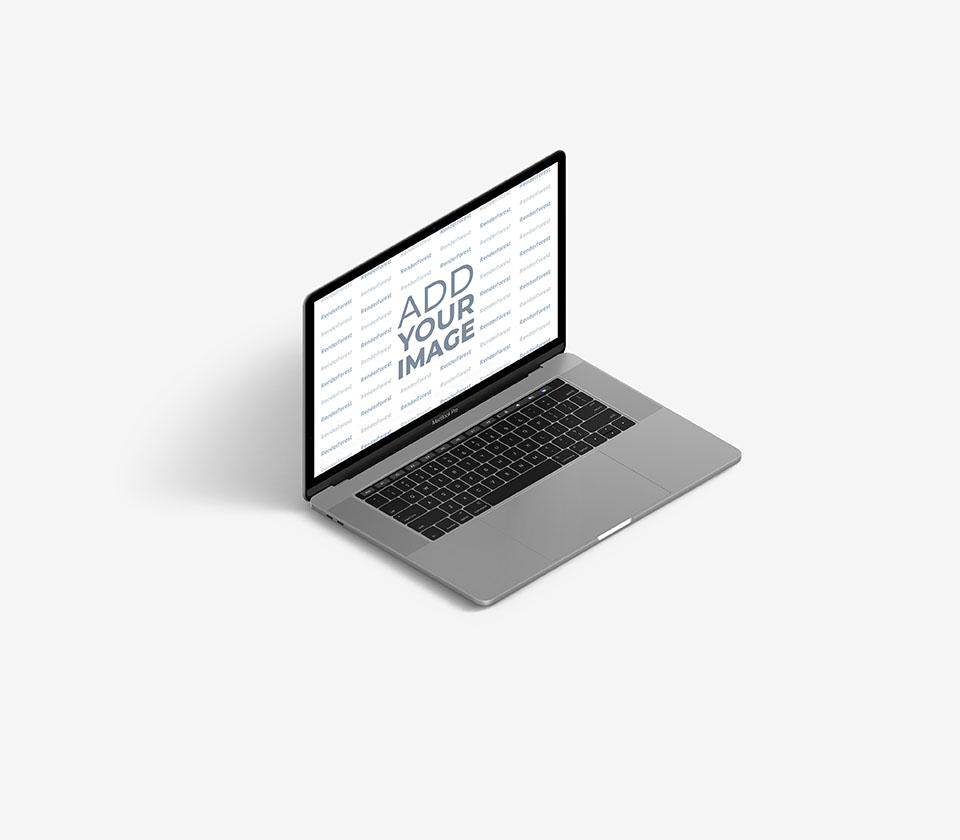 Vista lateral izquierda de un MacBook gris