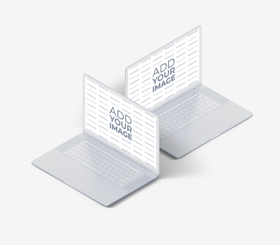 Deux MacBooks blancs sur un fond rose