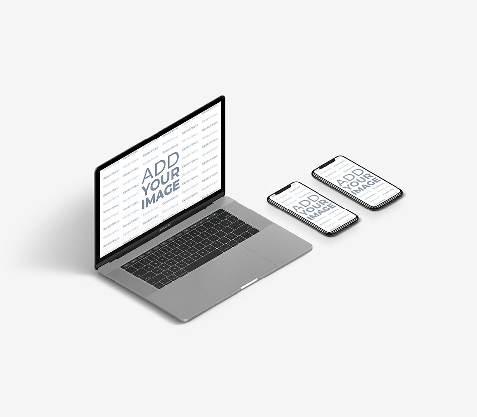Gray MacBook with Two iPhones