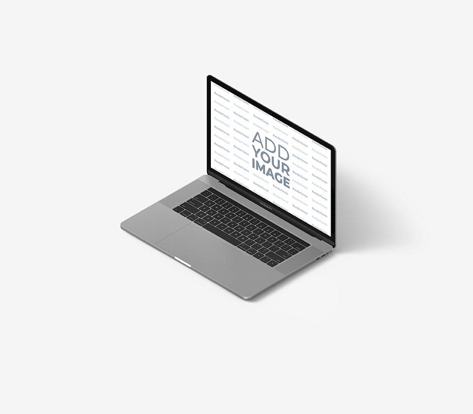 Vista lateral derecha de un MacBook gris