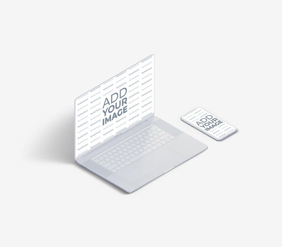 MacBook blanco junto a un iPhone