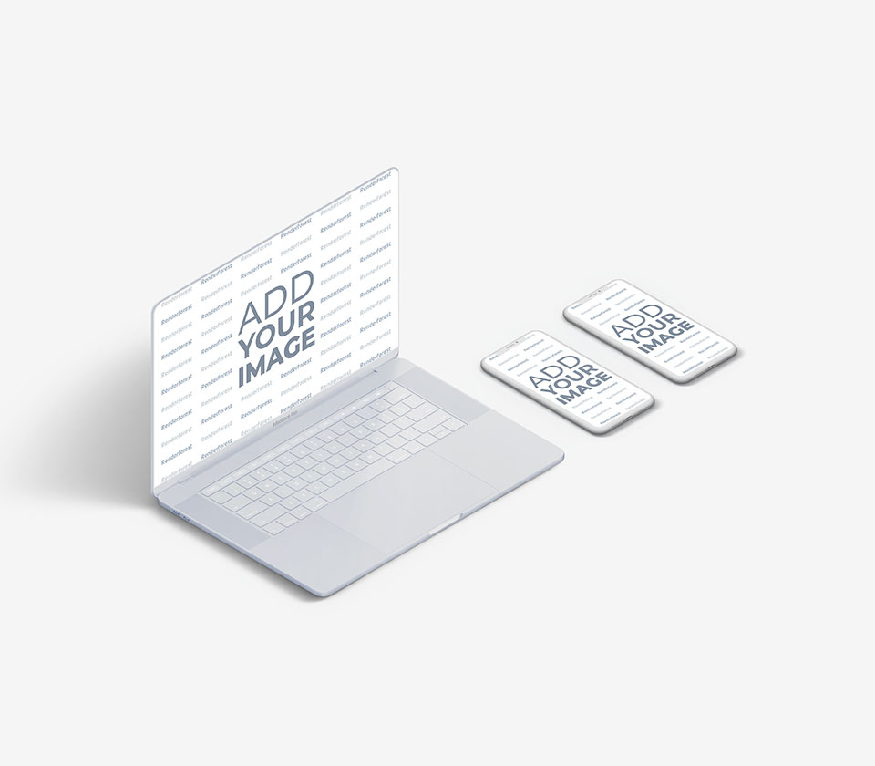 White MacBook with Two iPhones