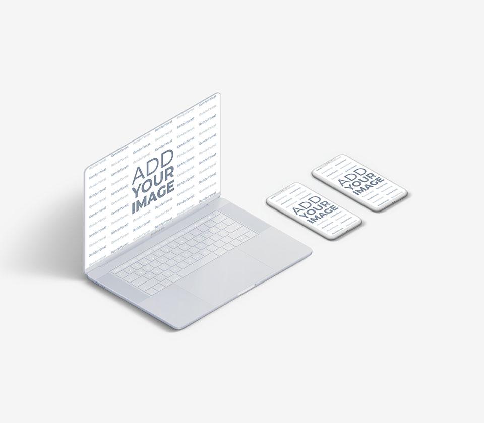 MacBook blanc avec deux iPhones