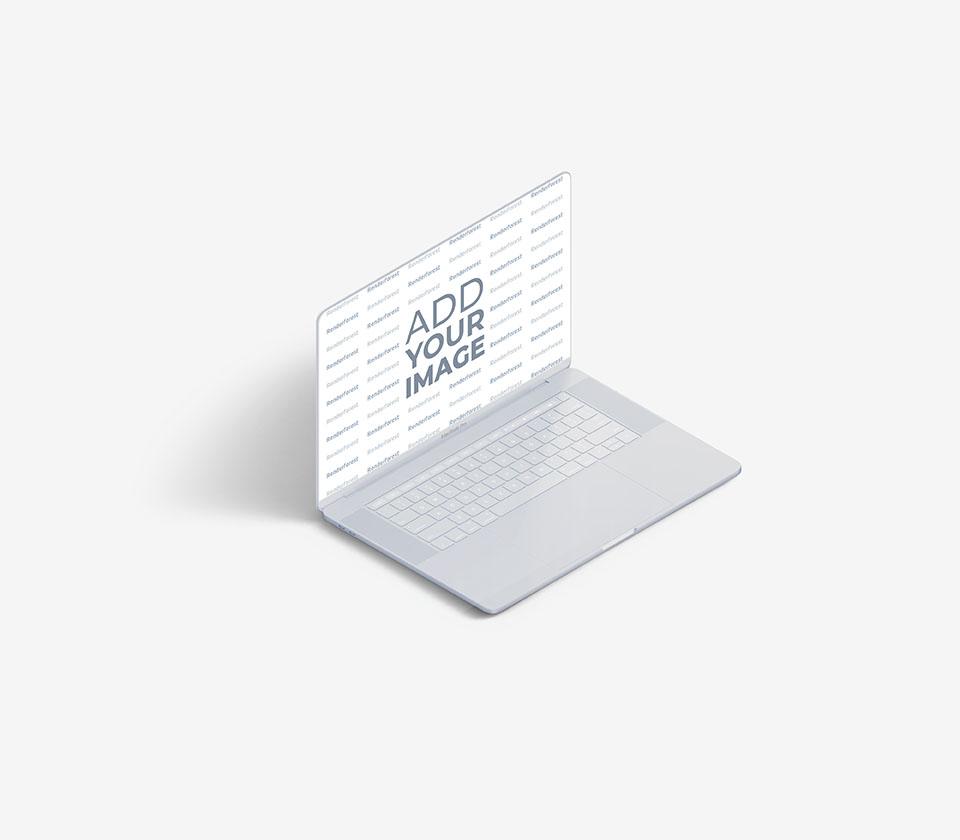 Vista lateral izquierda de MacBook blanco