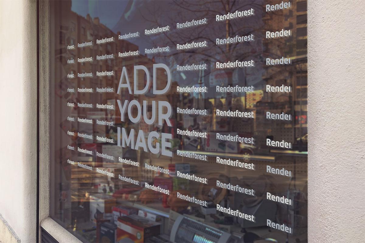 لافتة الشعار على نافذة ورشة العمل