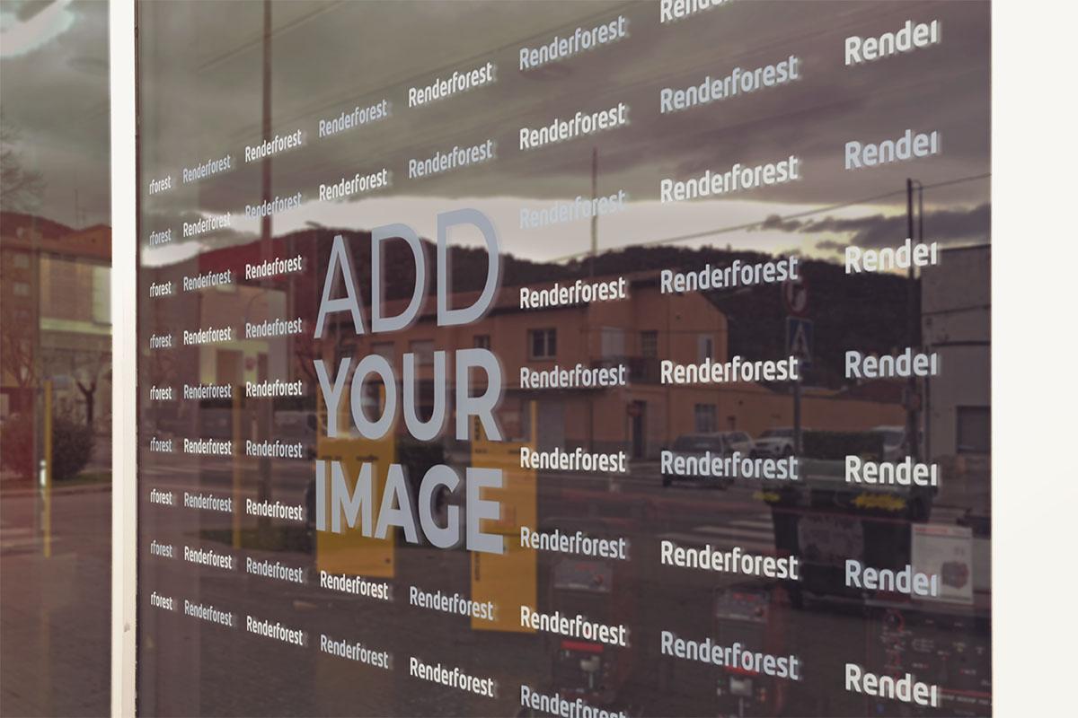 لافتة الشعار على نافذة شركة برمجيات