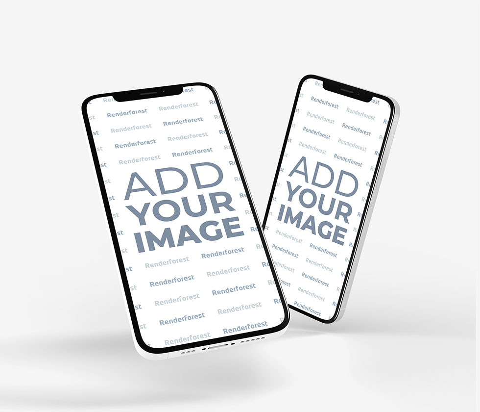 Two iPhone 12 Models on a White Background