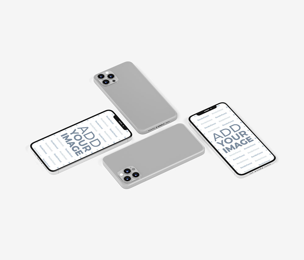 Four Isometric iPhone 12 Models Front and Back