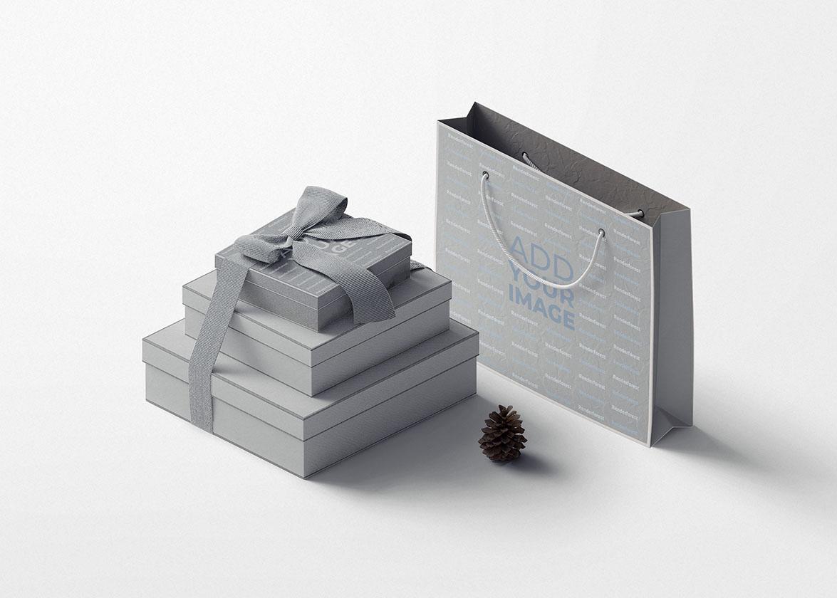 كومة من علب الهدايا مع كيس ورقي