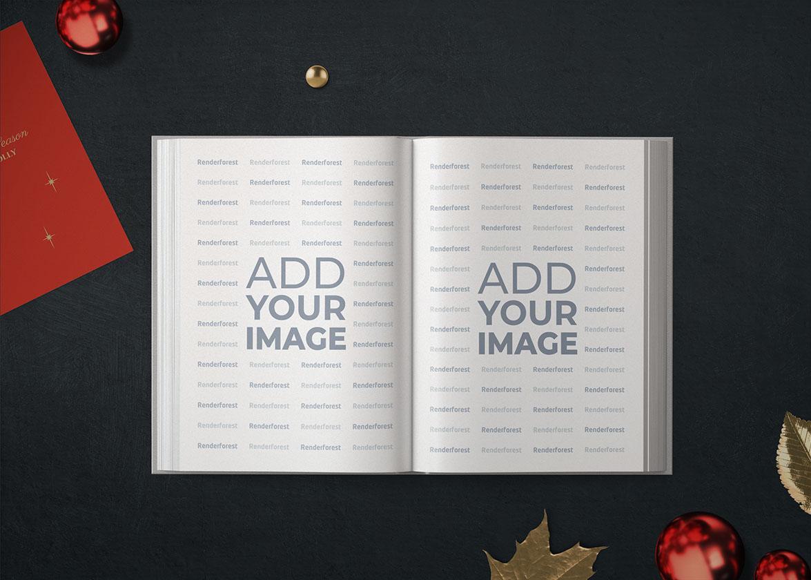 Раскрытая книга на новогоднем фоне