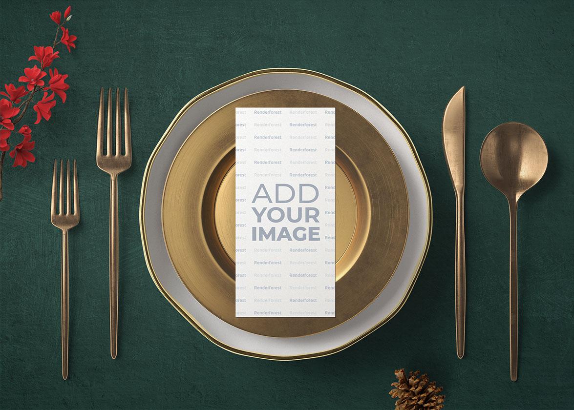 Новогодний стол с меню-буклетом