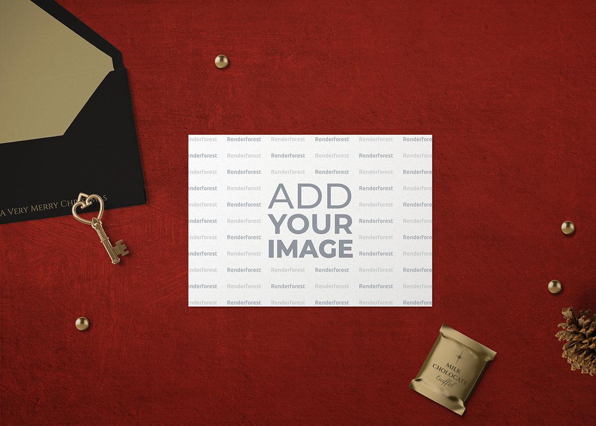 Новогодняя открытка, конверт и украшения