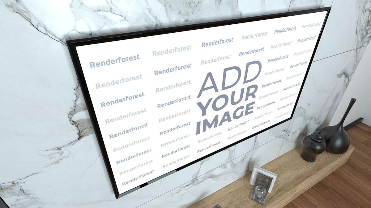 TV écran plat, vue latérale supérieure gauche