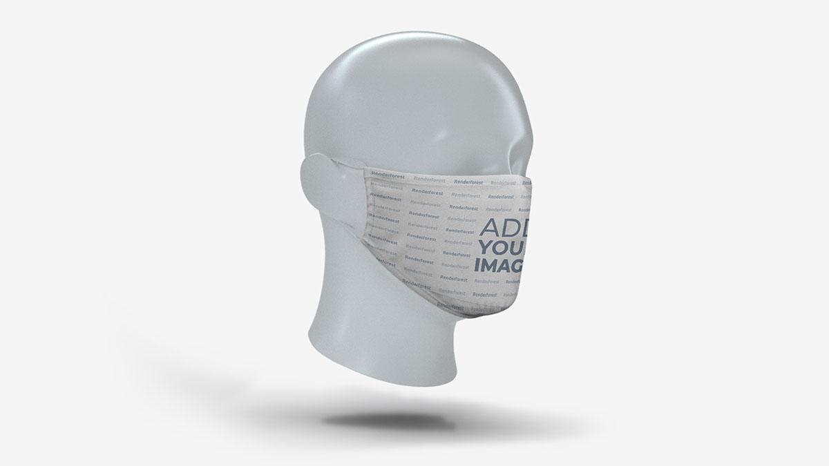 Máscara Facial em Vista Lateral da Cabeça de Um Manequim