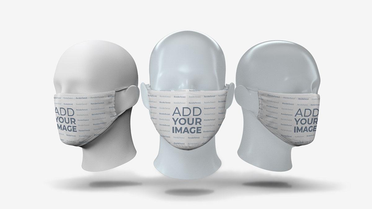 Três Máscaras Faciais em Cabeças de Manequim